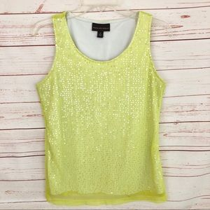 Dana Buchman Yellow Mesh & Sequin Tank Top
